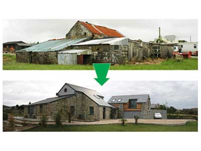 Conversion of Cornish barns into new home